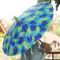 Saa paper parasol, 'Forest Explosion' - Blue and Green Batik Thai Saa Paper Parasol