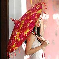 Saa paper parasol, 'Supernova' - Fair Trade Saa Paper Parasol Crafted in Thailand
