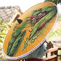 Parasol, 'Village by the River' - Artisan Crafted Parasol with Thai Landscape Scene