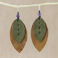 Amethyst and leather dangle earrings, 'Happy Leaves' - Amethyst and Leather Leaf Dangle Earrings from Thailand