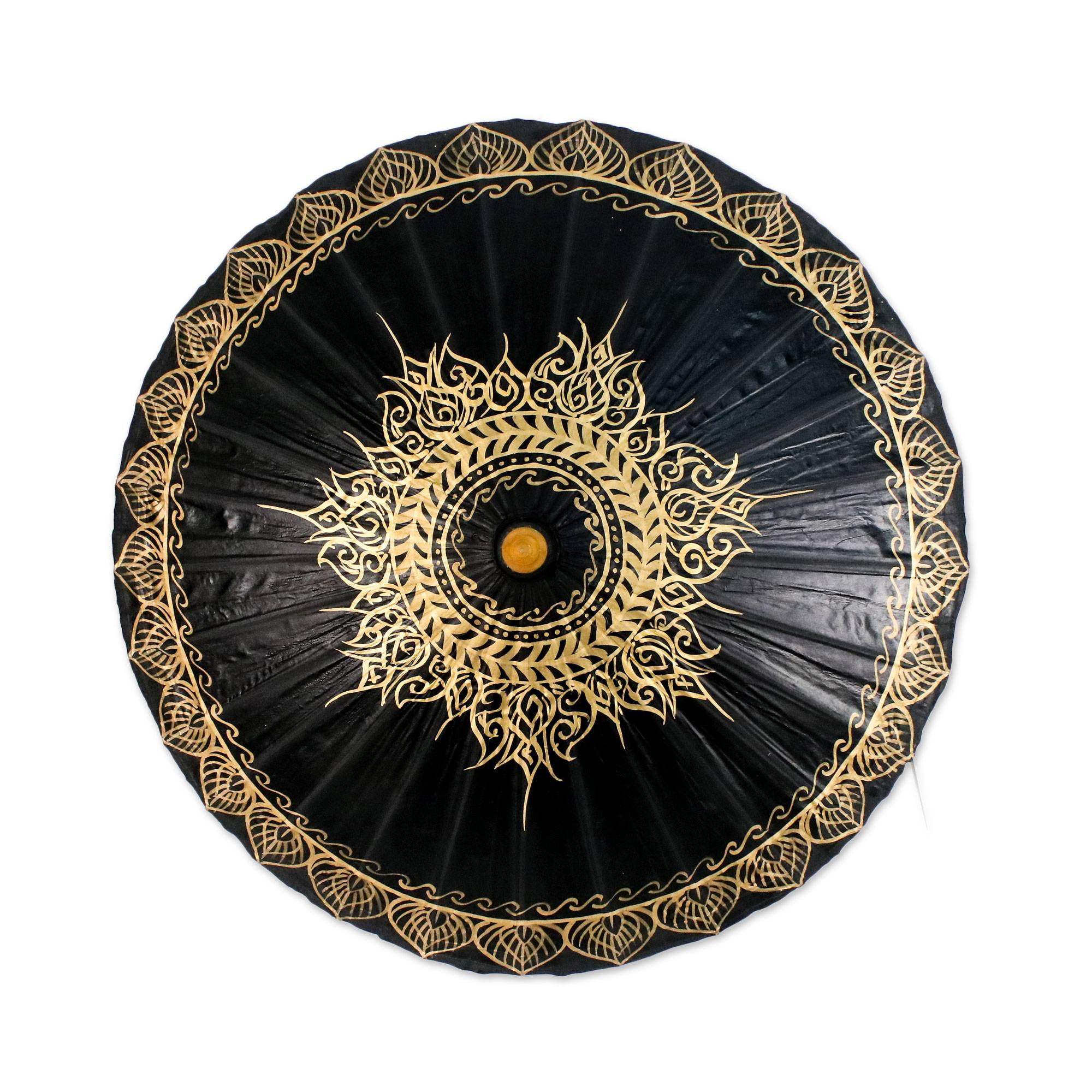Black and Gold Oil Painted Thai Parasol with Bamboo Frame, 'Black Gold Sun'