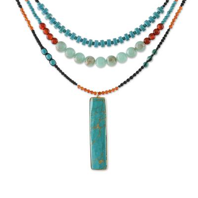 Multi-gemstone beaded pendant necklace, 'Painted Hillside' - Multi-Gemstone Carnelian and Calcite Necklace