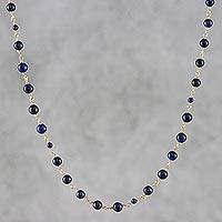 Lapis lazuli long beaded necklace, 'Andaman Sea' - Blue Lapis Lazuli and Brass Long Beaded Necklace