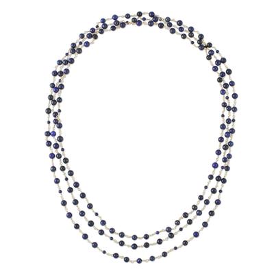 Lapis lazuli long link necklace, 'Andaman Sea' - Blue Lapis Lazuli and Brass Long Beaded Necklace