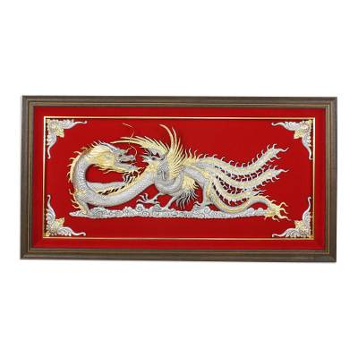 Silver and Red Thai Repousse Panel of Dragon and Phoenix