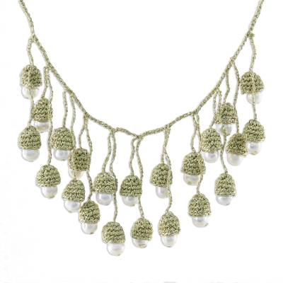 Thai Cultured Pearl Waterfall Necklace in Gold and White
