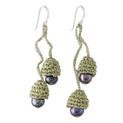 Cultured pearl dangle earrings, 'Gold and Black Passion' - Thai Cultured Pearl Dangle Earrings in Gold and Black