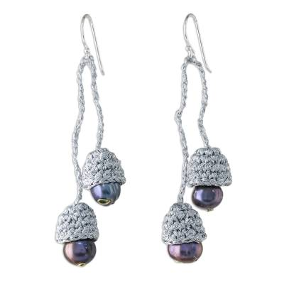 Thai Cultured Pearl Dangle Earrings in Silver and Black