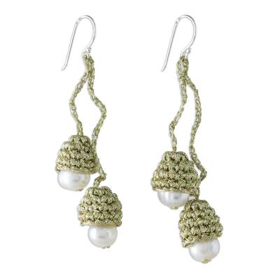 Thai Cultured Pearl Dangle Earrings in Gold and White