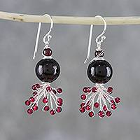 Garnet beaded dangle earrings, 'Fiery Burst' - Garnet Beaded Dangle Earrings from Thailand