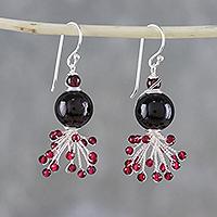 Garnet beaded dangle earrings, 'Fiery Burst'