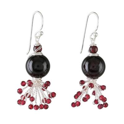 Garnet beaded dangle earrings, 'Fiery Burst' - Garnet Beaded Dangle Earrings from Thailand