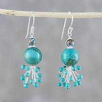 Sterling silver and calcite beaded dangle earrings, 'Sea Burst' - Sterling Silver Beaded Dangle Earrings from Thailand