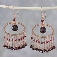 Garnet chandelier earrings, 'Charming Ovals' - Garnet Beaded Chandelier Earrings from Thailand
