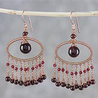 Garnet waterfall earrings, 'Charming Ovals'