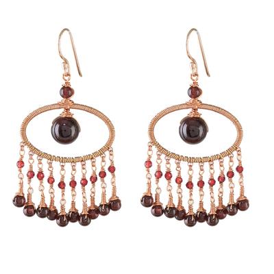 Garnet waterfall earrings, 'Charming Ovals' - Garnet Beaded Waterfall Earrings from Thailand