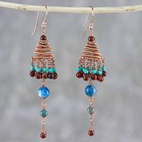 Multi-gemstone chandelier earrings, 'Marvelous Rain' - Multi-Gemstone Chandelier Earrings Crafted in Thailand