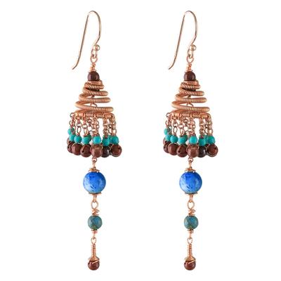 Multi-gemstone chandelier earrings, 'Marvelous Rain' - Multi-Gemstone Chandelier Earrings Crafted in Thailand