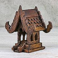 Miniature wood spirit house, 'Center of Belief' - Thai Teakwood Handcarved Miniature Spirit House Sculpture