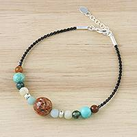 Multi-gemstone beaded bracelet, 'Planetary' - Multi-Gemstone Beaded Hill Tribe Bracelet from Thailand