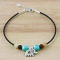 Multi-gemstone beaded bracelet, 'Dreamy Elephant' - Multi-Gemstone Beaded Elephant Bracelet from Thailand