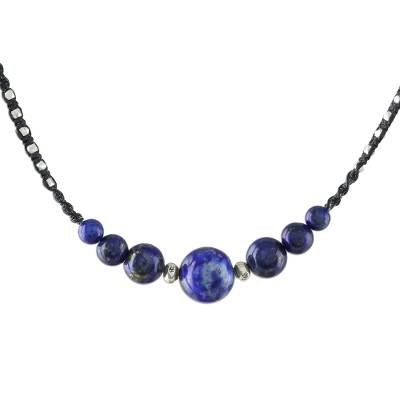 Lapis lazuli beaded necklace, 'Blue Way' - Hill Tribe Lapis Lazuli Beaded Necklace from Thailand