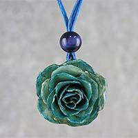 Natural rose pendant necklace, 'Rosy Chic in Green' - Natural Rose Pendant Necklace in Blue-Green from Thailand