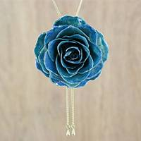 Gold plated natural rose lariat necklace, 'Garden Rose in Dark Blue' - Blue Natural Rose on a Gold-Plated Lariat Necklace