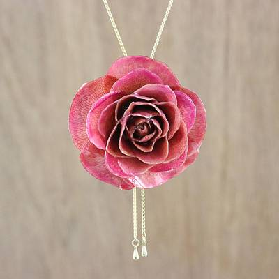 Gold plated natural rose lariat necklace, 'Pink Garden Rose' - Medium Pink Natural Rose Gold-Plated Lariat Necklace