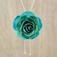 Gold plated natural rose lariat necklace, 'Turquoise Garden Rose' - Gold-Plated Turquoise Natural Rose Lariat Necklace