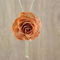 Gold plated natural flower lariat necklace, 'Ginger Garden Rose' - Dark Orange Natural Rose Gold-Plated Lariat Necklace