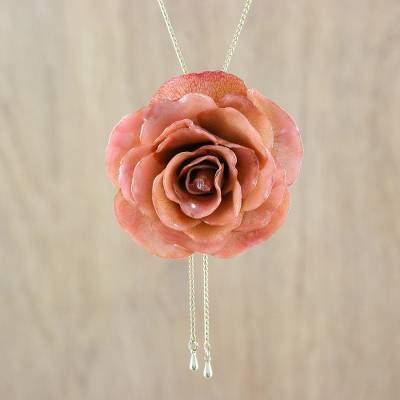 Natural flower lariat necklace, 'Peachy Rose' - Resin Dipped Real Peach Rose 24K Gold Plated Lariat Necklace