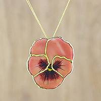Natural flower pendant necklace, 'Pansy' - Resin Dipped Pink Pansy 24K Gold Plated Pendant Necklace