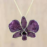 Natural flower pendant necklace, 'Enchanting Orchid' - Resin Dipped Purple Orchid 24K Gold Plated Pendant Necklace