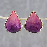 Gold accent natural flower button earrings, 'Pink Rock Orchid' - Resin Dipped 24K Gold Plated Purple Orchid Drop Earrings
