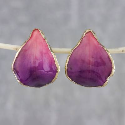 Resin Dipped 24k Gold Plated Purple Orchid Drop Earrings Pink Rock