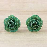 Natural flower button earrings, 'Petite Rose in Green' - Resin Dipped Green Real Miniature Rose Button Earrings