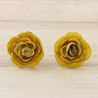 Natural flower button earrings, 'Petite Rose in Yellow' - Resin Dipped Yellow Real Miniature Rose Button Earrings