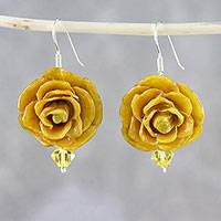 Natural flower dangle earrings, 'Captured Beauty in Yellow' - Resin Dipped Yellow Real Miniature Rose Dangle Earrings