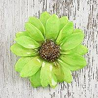 Natural flower brooch, 'Aster Delight in Green' - Resin Dipped Green Real Aster Brooch from Thailand