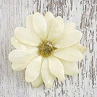 Natural flower brooch, 'Aster Delight in Cream' - Resin Dipped Cream Real Aster Brooch from Thailand