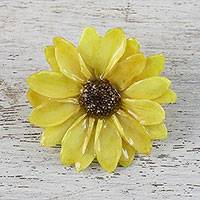 Natural flower brooch, 'Aster Delight in Yellow' - Resin Dipped Yellow Real Chrysanthemum Brooch from Thailand