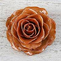 Natural rose brooch pin, 'Rosy Mood in Orange' - Handcrafted Natural Rose Brooch Pin in Orange from Thailand