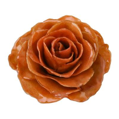 Handcrafted Natural Rose Brooch Pin in Orange from Thailand