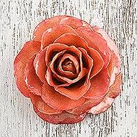 Natural rose brooch pin, 'Rosy Mood in Coral' - Artisan Crafted Natural Rose Brooch Pin in Coral