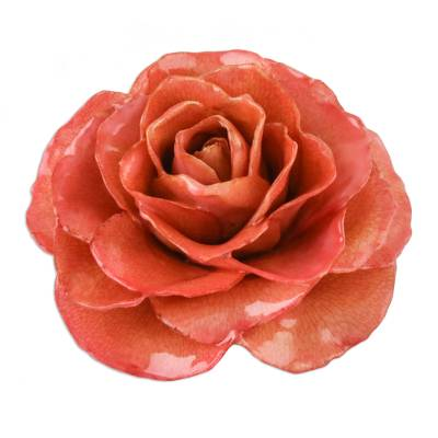Artisan Crafted Natural Rose Brooch Pin in Coral