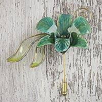 Gold accent natural flower brooch, 'Sweet Sky' - Handcrafted Bluish-Green Natural Orchid Gold-Plated Brooch
