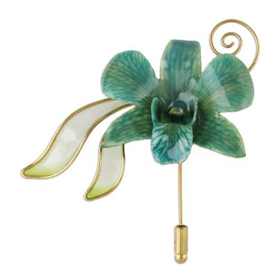 Handcrafted Bluish-Green Natural Orchid Gold-Plated Brooch