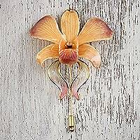 Gold accent natural flower brooch, 'Sweet Sunrise' - Light Orange Gold-Plated Natural Orchid Stickpin