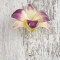 Silver-plated natural orchid stickpin, 'Timeless Spring' - Handcrafted Purple Cream Natural Orchid Gold-Plated Stickpin